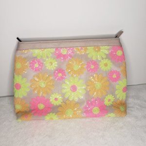 Asos Neon Pink Floral Sequined Clutch Purse Medium